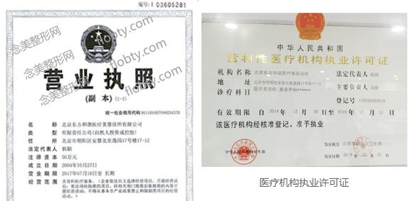 北京东方和谐整形医院正规可靠医疗资质证书